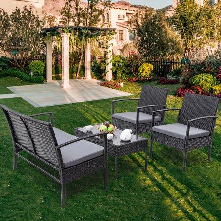Gymax Patio Garden 4PC Rattan Wicker Furniture Set Black - image 3 of 9