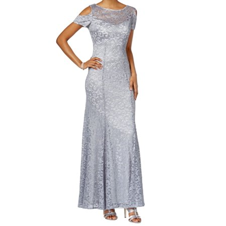R&M Richards NEW Platinum Silver Womens Size 8 Cold-Shoulder Lace Gown ()