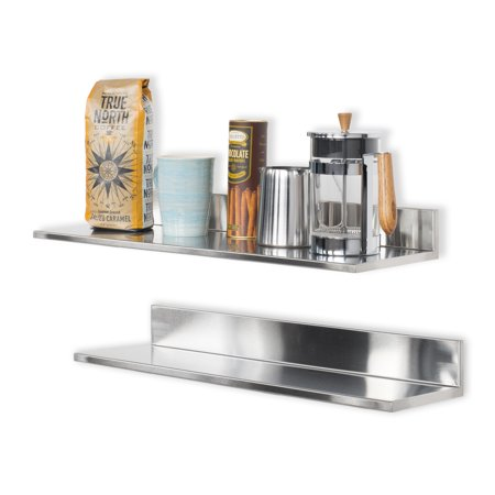 Wall Mount Multipurpose Stainless Steel Kitchen Pantry 23 Inch Floating Shelves by Wallniture Set of 2