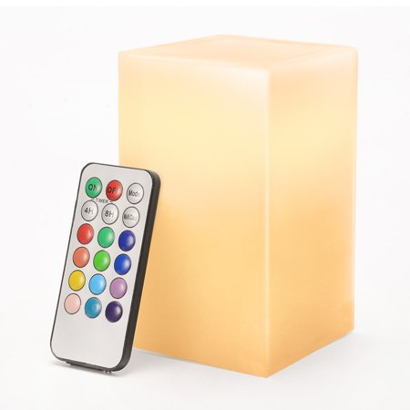 LED Flameless Pillar Candle Light with Paraffin Body Real Wax Candle Lamp 12 Colors with 18 Keys Remote Control and 4 Hrs or 8Hrs Timer Function, 5inch Tall - Flameless Lamps