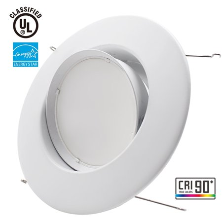 Sun & Star 10W 5/6inch Gimbal LED Recessed Light Retrofit Kit 75W Equivalent, Energy Star UL Classified Light Fixture, Adjustable LED Directional Ceiling Down Light Fits Recessed Can - 3000K