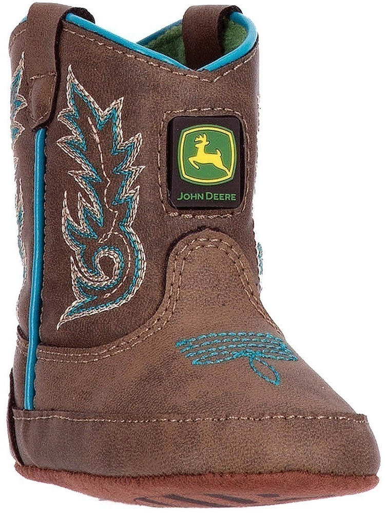 John Deere Boys Brown Turquoise Stitch Pull-On Crib Boots