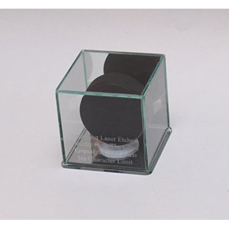 (Hockey Puck Etched Glass Personalized - Engraved Display Case with Mirror Base and Back)