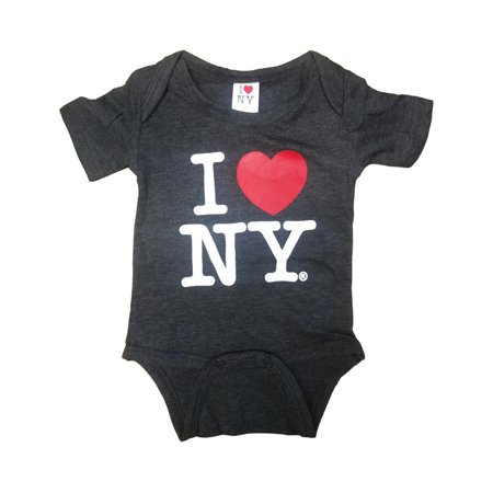 I Love Ny Charcoal Baby Bodysuit Infant Screen Printed - I Love Ny Pajamas