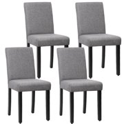Dining Chair Set Of 4 Elegant Design Modern Fabric Upholstered Dining Chair For Dining Room Grey