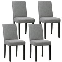 Dining Chair Set of 4 Elegant Design Modern Fabric Upholstered Dining Chair For Dining Room Gray