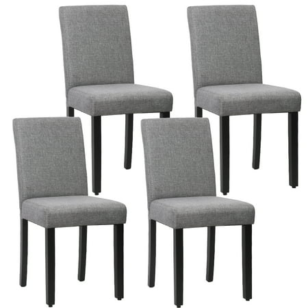 Fully Upholstered Contemporary Guest Chair - Dining Chair Set Of 4 Elegant Design Modern Fabric Upholstered Dining Chair For Dining Room Grey