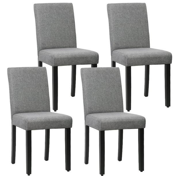 Dining Chair Set of 4 Elegant Design Modern Fabric Upholstered