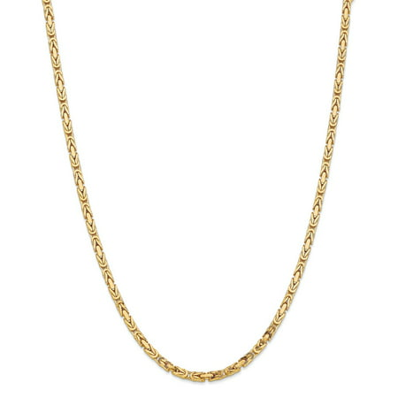 """Solid 14k Yellow Gold Big Heavy 3.25mm Byzantine Chain Necklace 16"""" - with Secure Lobster Lock Clasp"""