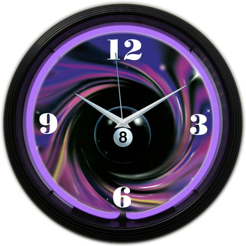 Neonetics Billiard Eight Ball 15'' Swirl Neon Clock