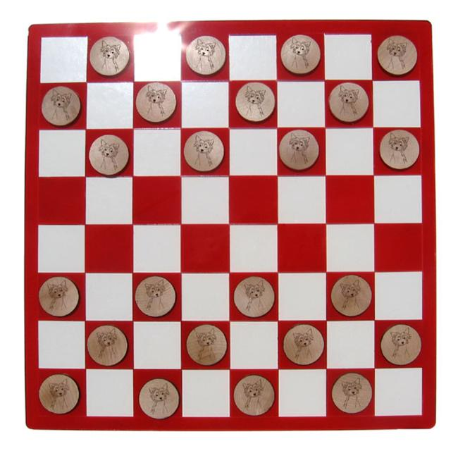 CAMIC designs DOG020CKS Laser-Etched Chinese Crested Checkers Set