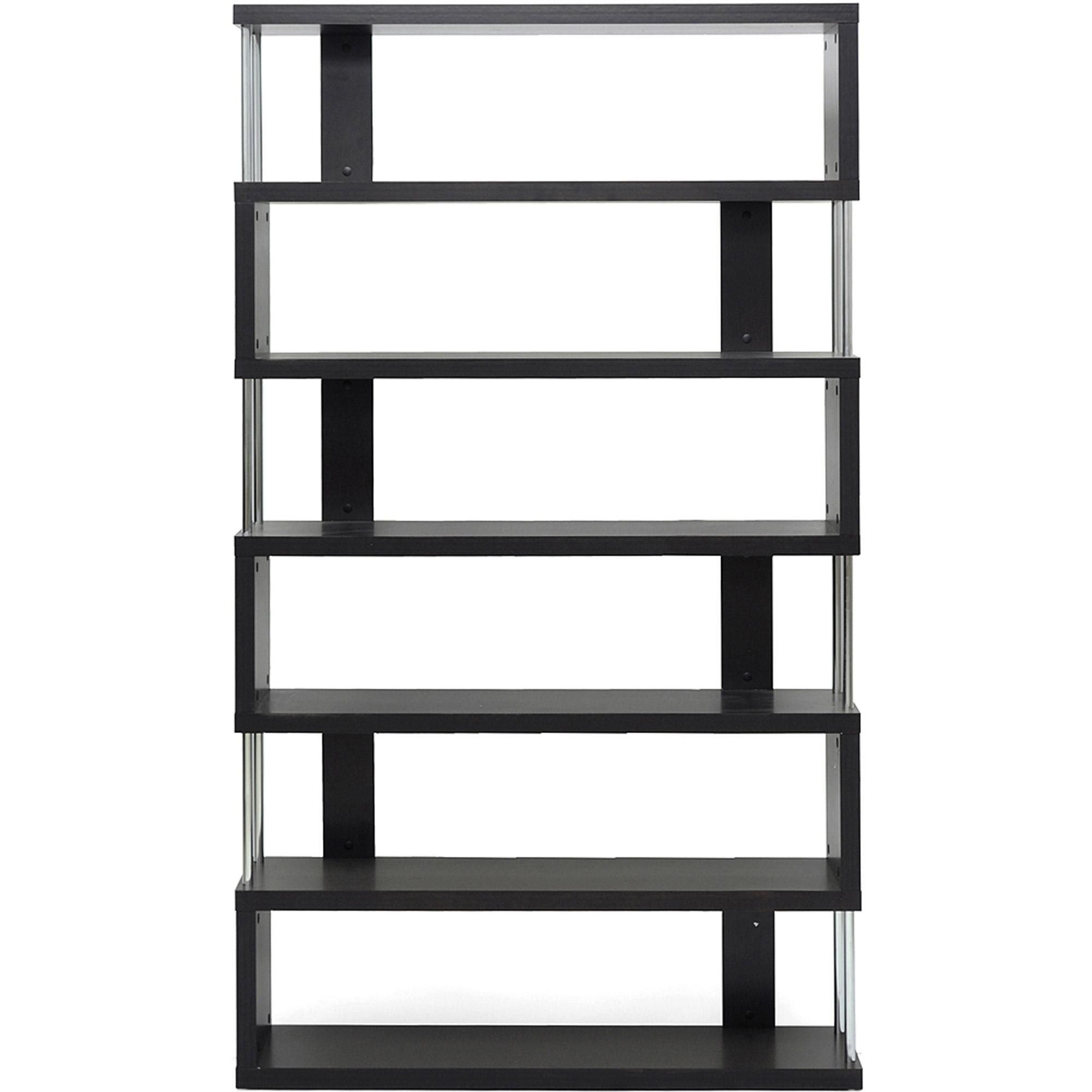 barnes dark brown 6 shelf modern bookcase walmart