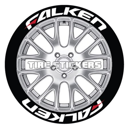 Falken Wheels - FALKEN w/ RED DASH Tire Stickers - White - 1.25