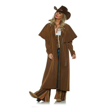Brown Cowgirl Vest (Duster Brown Womens Adult Bandit Cowgirl Halloween Costume)