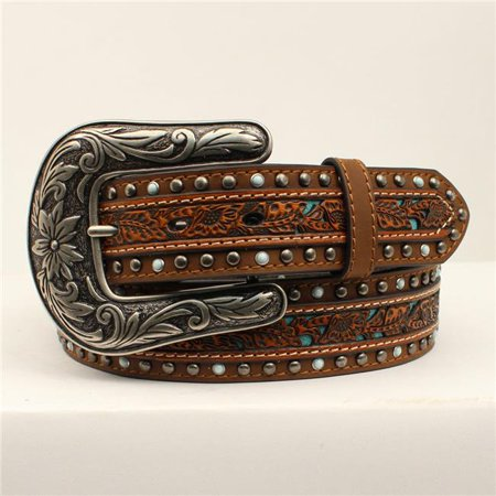 Nocona N320000802-XL 1.50 in. Floral Pierced Center Overlay Stud Edge Ladies Belt & Buckle, Brown - Extra -