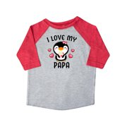 I Love My Papa with Cute Penguin and Hearts Toddler T-Shirt