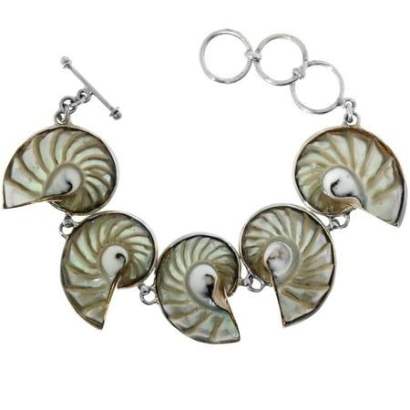 Swarovski Sterling Silver Genuine Bracelets (Genuine Natural Nautilus Shell 925 Sterling Silver Bracelet, 7