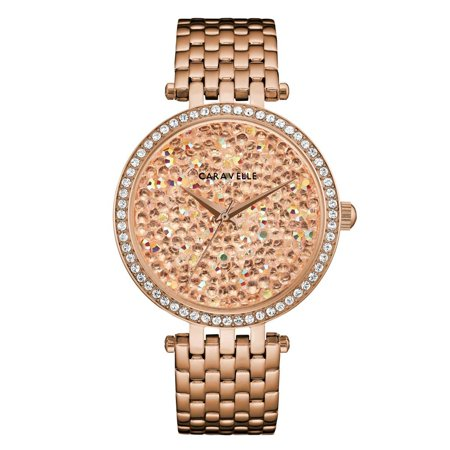 Caravelle Women's Modern Rose Gold Crystal Rock Dial Gold-Tone Stainless Steel Bracelet Watch 38mm