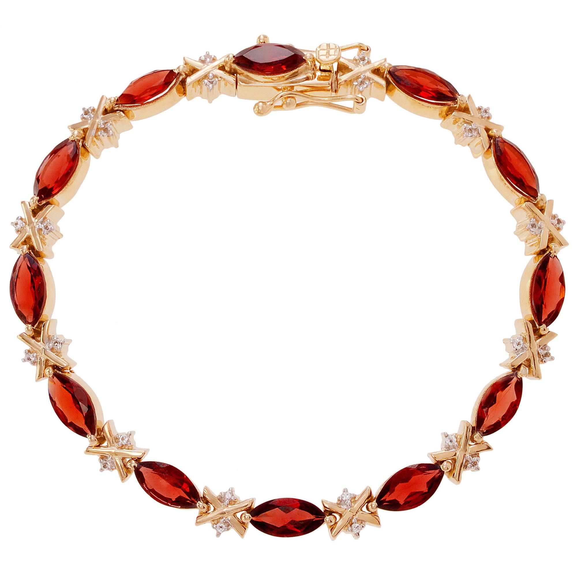 "Brinley Co. Women's Garnet 14K Gold-Plated Sterling Silver Topaz Accent Tennis Bracelet, 8"" by KNS International"