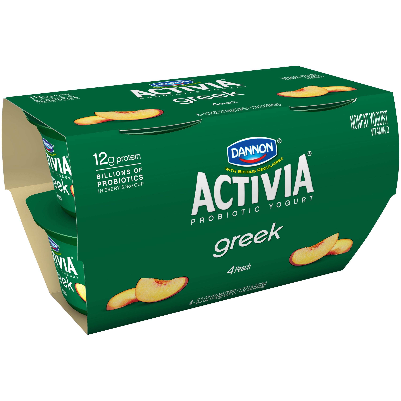 Image of Dannon ® Activia ® Greek Probiotic Blended Nonfat Yogurt Peach 5.3oz 4 pack