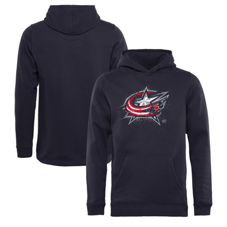 Columbus Blue Jackets Fanatics Branded Youth Splatter Logo Pullover Hoodie - Navy - Yth S Columbus Blue Jackets Youth Hockey