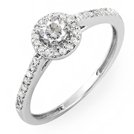 Dazzlingrock Collection 0.50 Carat (ctw) 18k Round Cut Diamond Ladies Engagement Bridal Halo Ring 1/2 CT, White Gold, Size 5