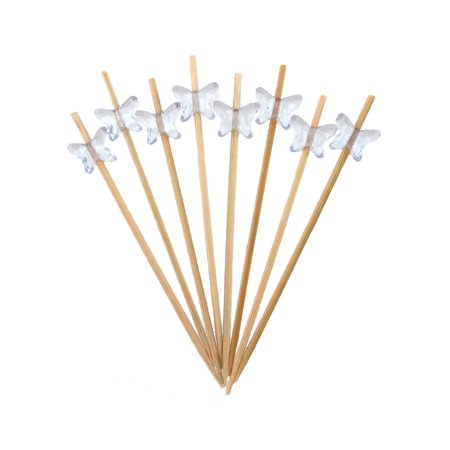 BambooMN Brand - Decorative Acrylic Butterfly End Bamboo Picks 3.9