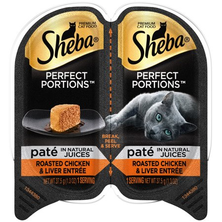 (4 Pack) Sheba Perfect Portions Pate In Natural Juices Roasted Chicken & Liver Grain Free Wet Cat Food, 2.6 oz. Twin-Pack