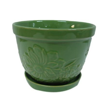 Better homes and gardens floral embossed ceramic planter - Better homes and gardens flower pots ...