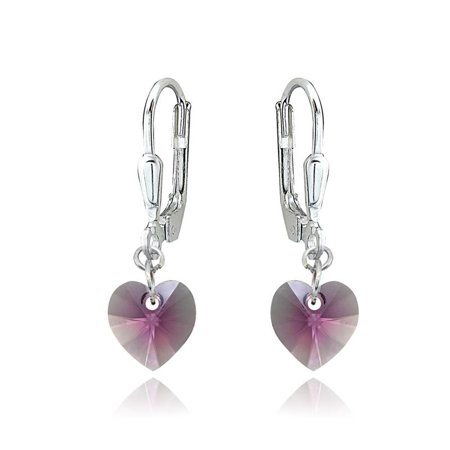 Sterling Silver Pink Dainty Heart Dangle Leverback Earrings Made with Swarovski