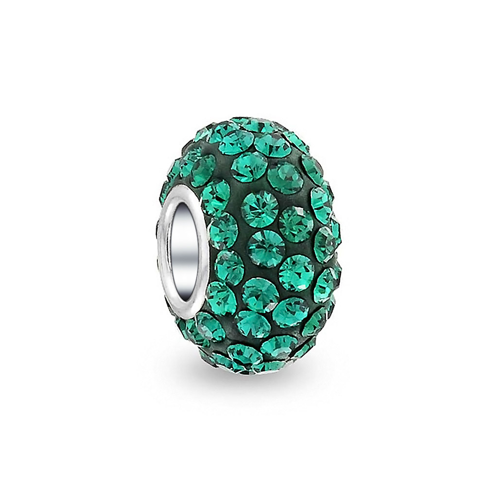 Dark Green Rhinestone May Birthstone Bead fits Silver European Charm Bracelets
