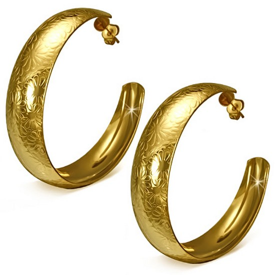 Stainless Steel Yellow Gold-Tone Large Half Hoop Floral Classic Earrings