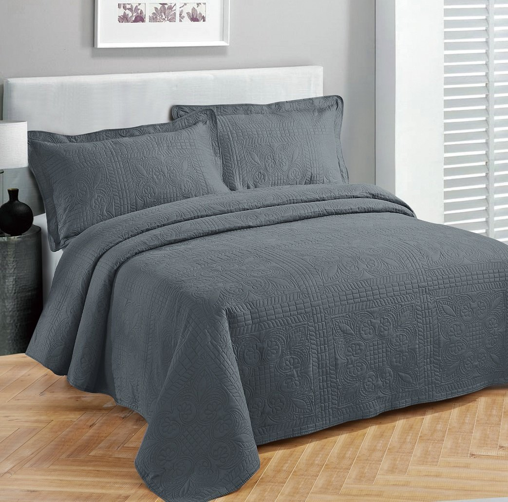 Fancy collection 3pc Bed Spread Embossed Bedsocover Solid Over size King / California king Dark Grey / Charcoal New