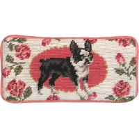Eyeglass Case Boston Terrier Dog 3.5x7 Wool Yarns New Hand-Embroidered Pe JK-415