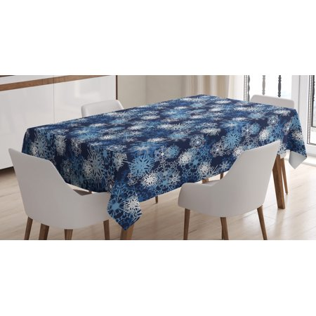 Winter Tablecloth, Various Different Ornate Snowflakes Blizzard Cold Season Xmas Themed, Rectangular Table Cover for Dining Room Kitchen, 52 X 70 Inches, Pale Blue Dark Blue White, by Ambesonne ()