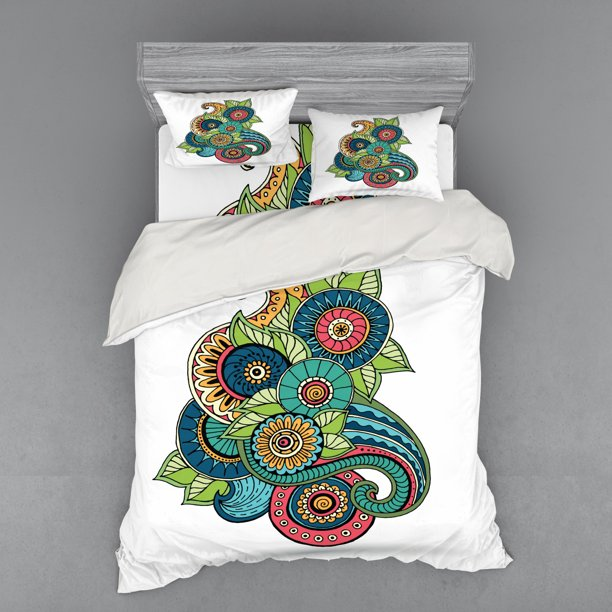 Doodle Duvet Cover Set Floral Zentangle Pattern With Vibrant Colors Paisley Doodle Colorful Bedding Set With Shams And Fitted Sheet 3 Sizes By Ambesonne Walmart Com Walmart Com
