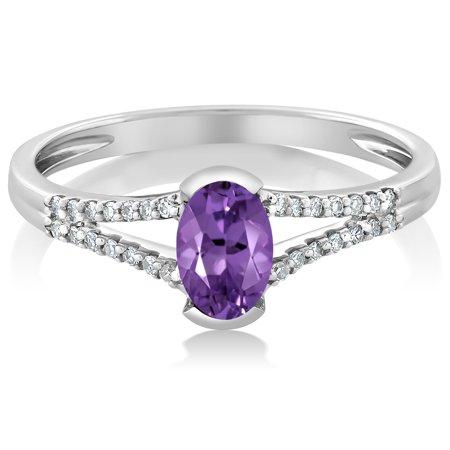 10K White Gold Women's Oval Purple Amethyst Diamond Ring - image 2 de 4