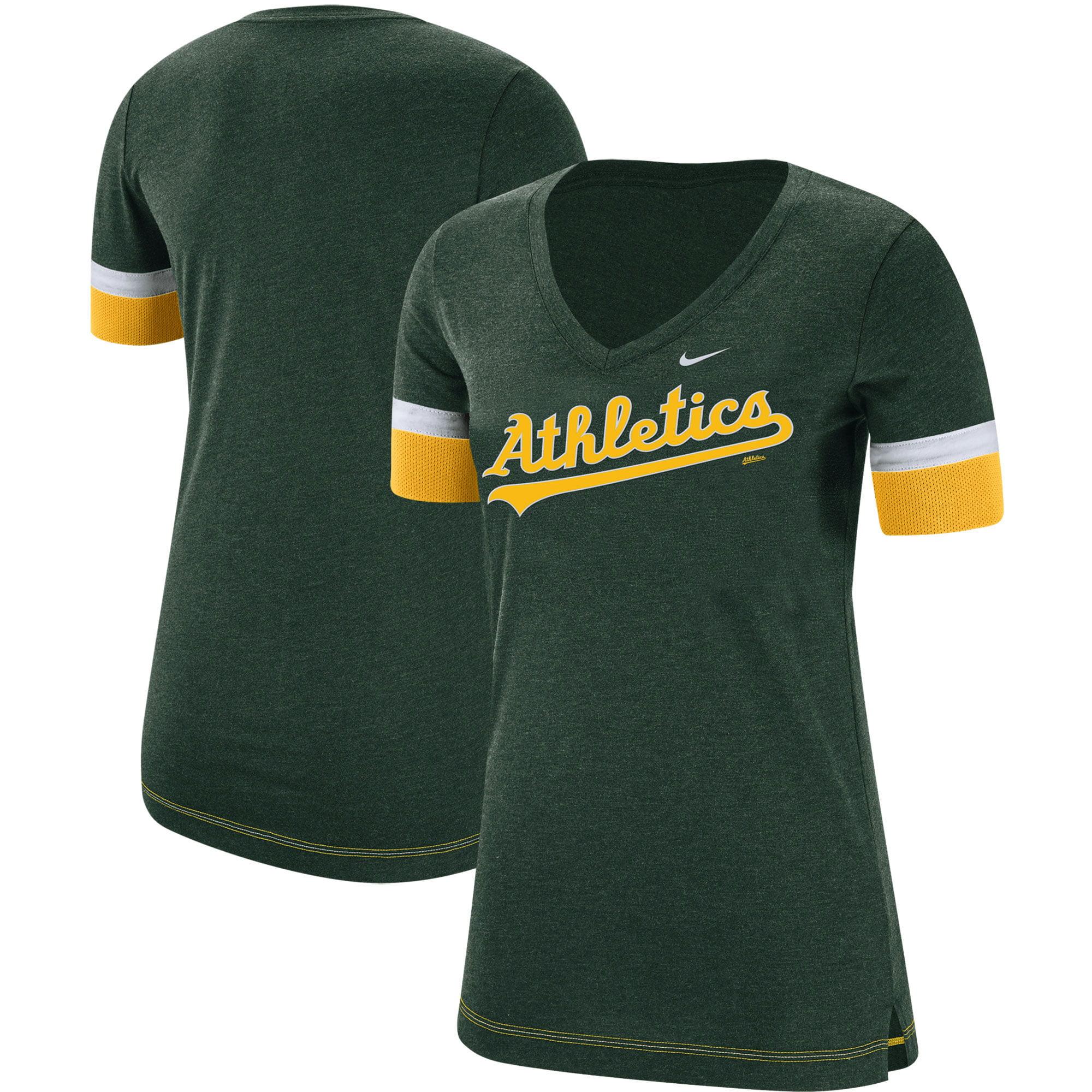 Oakland Athletics Nike Women's Mesh V-Neck T-Shirt - Green