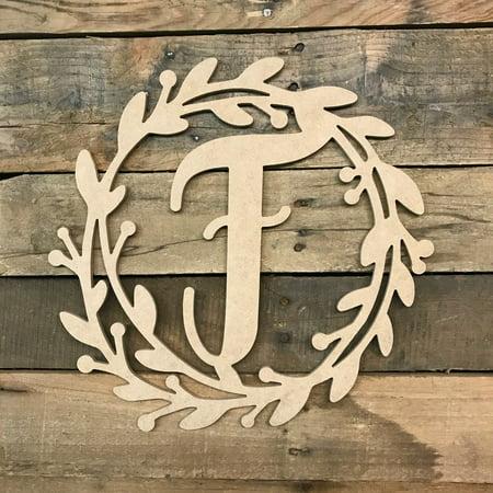 Wooden Cursive Wreath Frame Monogram 12'' F, Wood Letter Cutout](Monogram F)