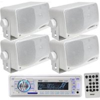 Pyle KTMRGS37 200W 4 x 3.5 in. Stereo Player ReceiverAux-In with Waterproof Speakers