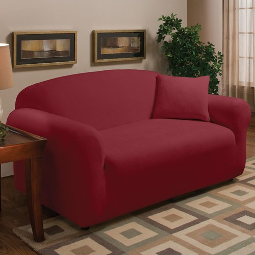 Madison Home Stretch Microfleece Box Cushion Loveseat Slipcover