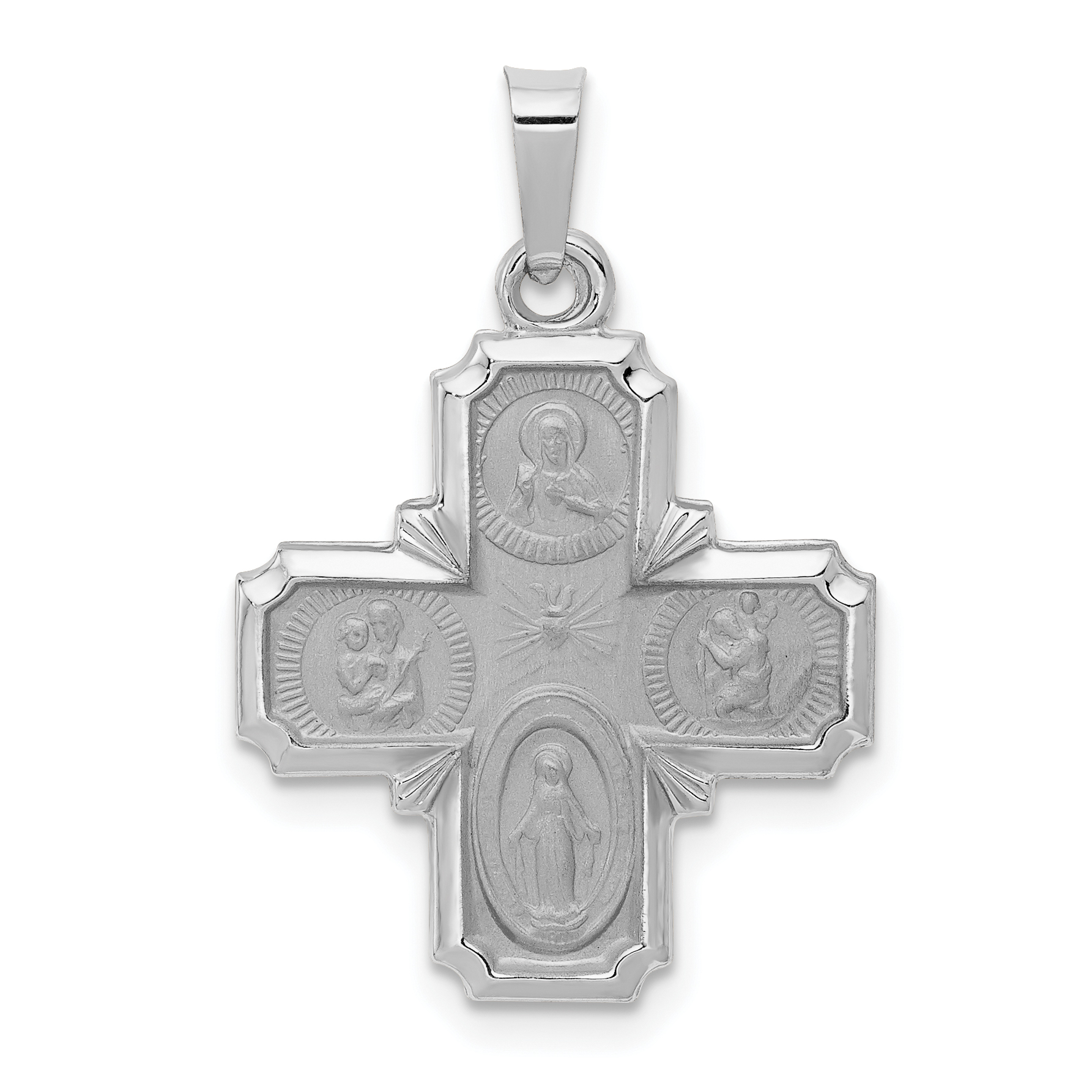 14K White Gold Polished and Satin Four Way Medal Pendant - image 3 of 3