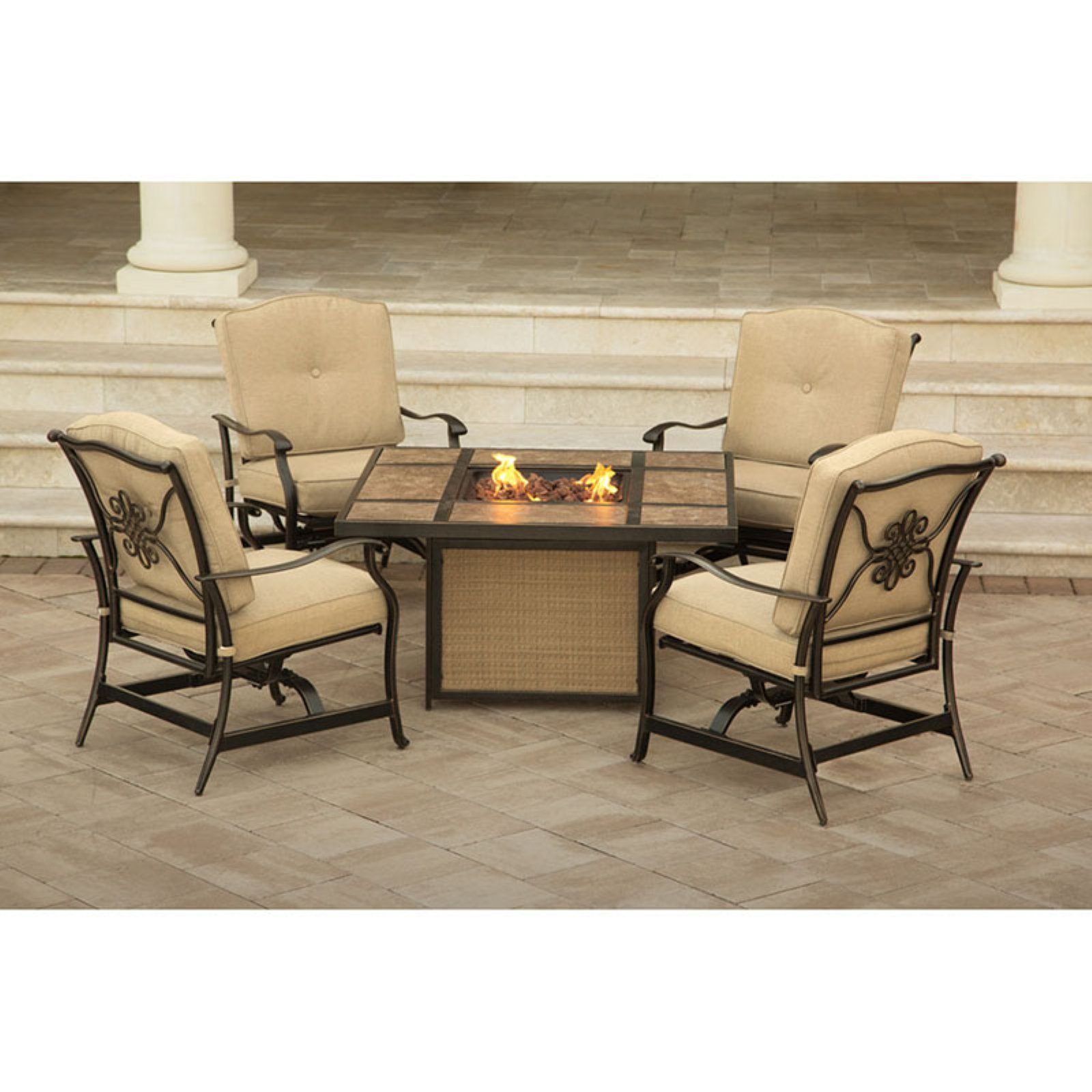 Hanover Outdoor Traditions 5-Piece Tile-Top Fire Pit Conversation Set, Natural Oat/Bronze
