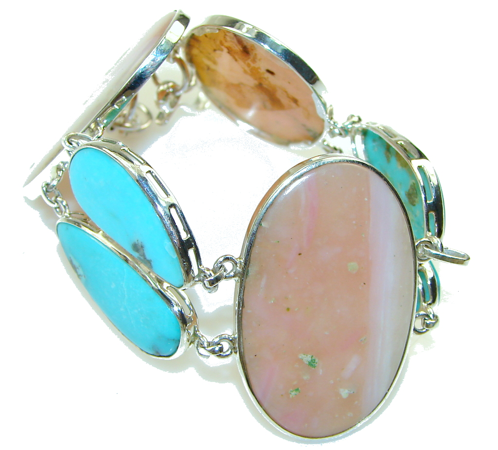Delicate!! Light Pink Opal Sterling Silver Bracelet by SilverRush Style by