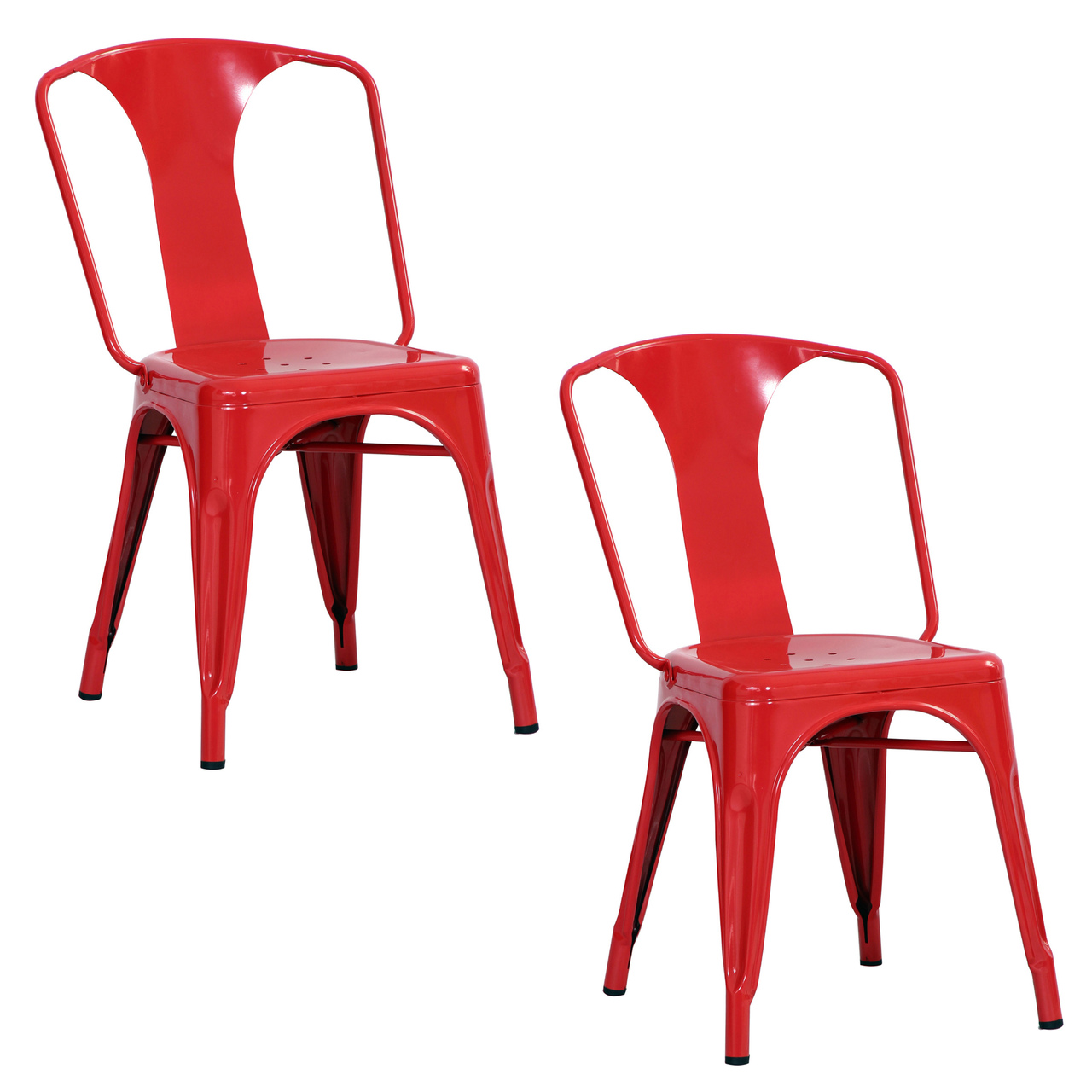 AmeriHome BS3530RSET 2 Piece Metal Dining Chair Set - Red