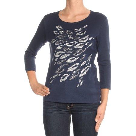 KAREN SCOTT Womens Navy Beaded Printed 3/4 Sleeve Jewel Neck Top  Size: