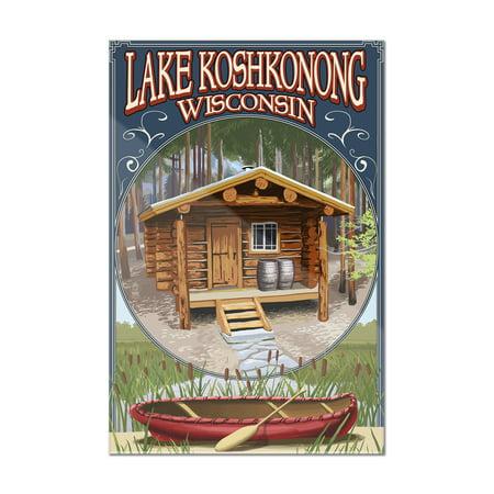 Lake Koshkonong  Wisconsin   Cabin In Woods   Lantern Press Poster  8X12 Acrylic Wall Art Gallery Quality