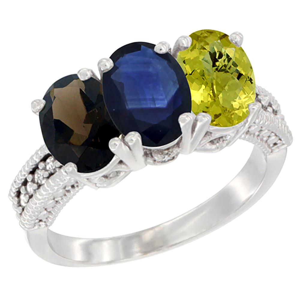 10K White Gold Natural Smoky Topaz, Blue Sapphire & Lemon Quartz Ring 3-Stone Oval 7x5 mm Diamond Accent, sizes 5 - 10