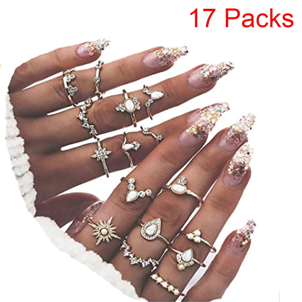 15 Unique Piece Stackable Knuckle Ring Set,Boho Vintage Crystal Stacking Midi Finger Ring Set for Women Teen Girls Fashion Multiple Rings