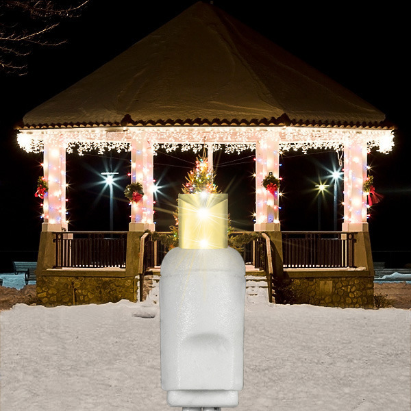 12.8 ft. Icicle Christmas Lights - 105 Warm White LED Mini Lights, 27 Icicle Drops, White Wire, Commercial Grade